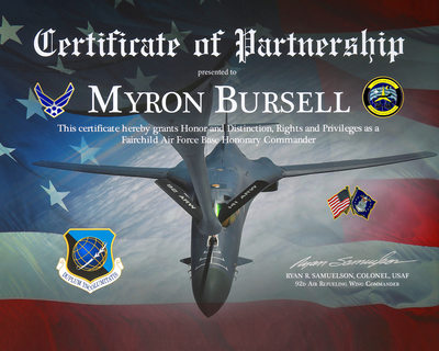 Fairchild AFB-Myron Honorary Commander-Spokane