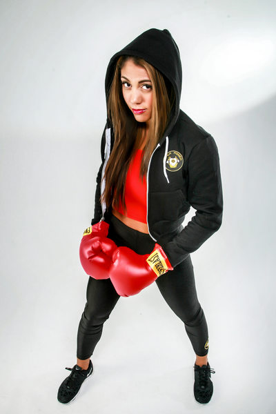 Women boxer, model with hoody