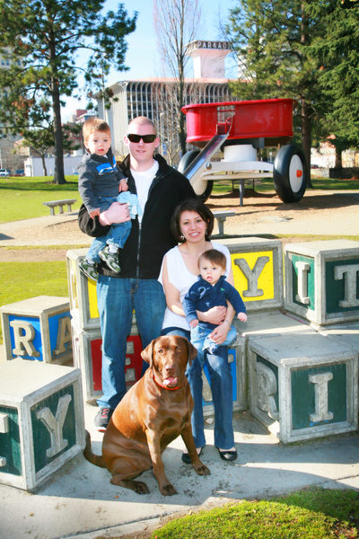 Riverfront Park, fun family portrait with their dog
