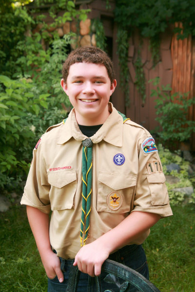 young Eagle Scout outdoors
