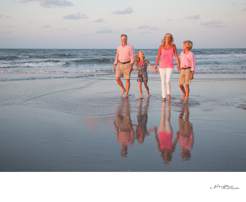 Folly Beach South Carolina Family Photograph at Sunrise