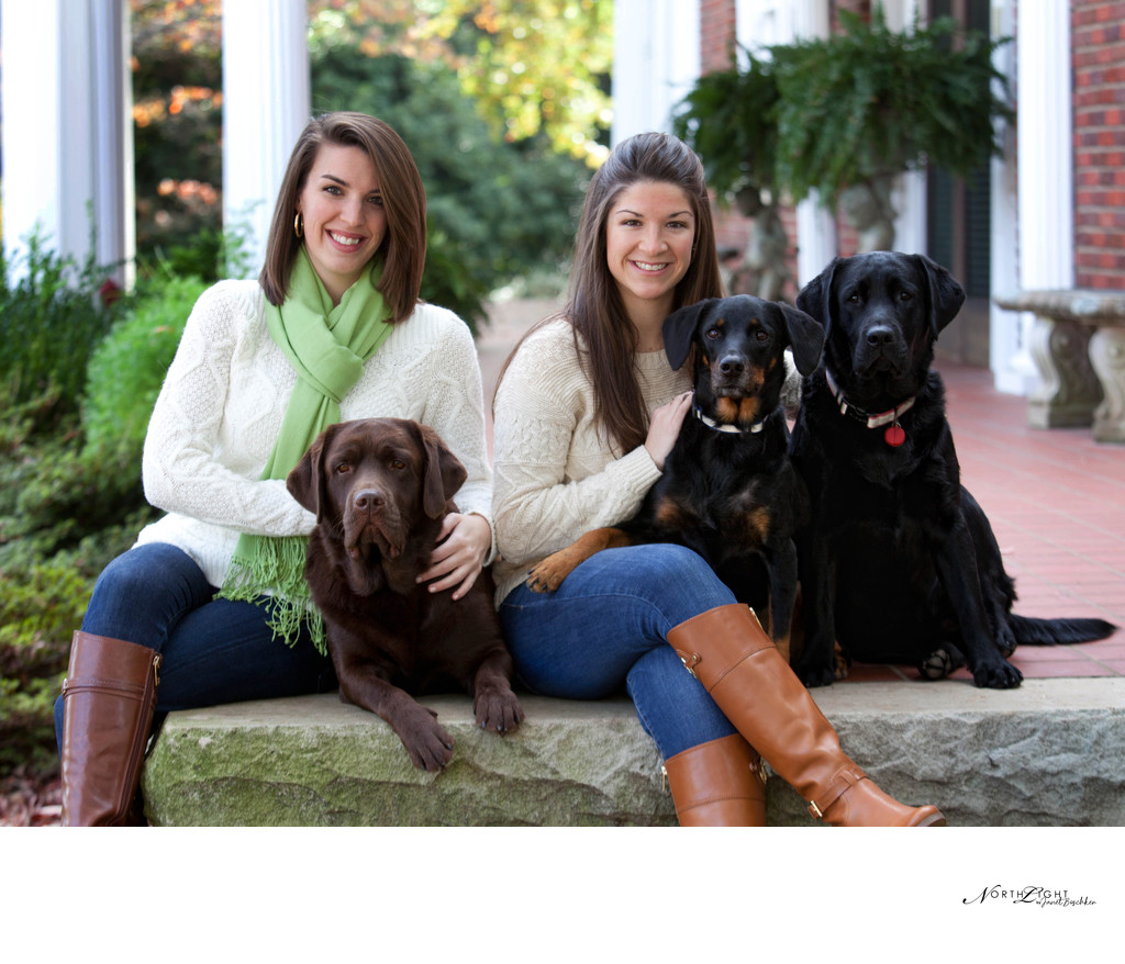 Portrait of Sisters With Family Dogs | Belmont, NC