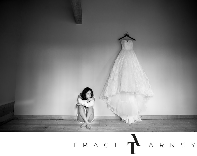 B&W Bridal Portrait with Wedding Gown, Danville, VA