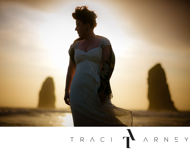 Oregon Haystack Rock Bridal Portrait