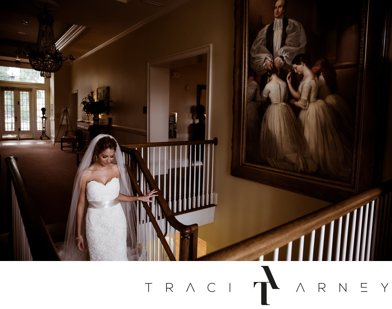 Bride Walks to Ceremony, St. Mary's Chapel, Raleigh, NC