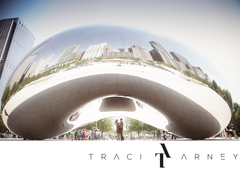 Chicago Cloud Gate Millennium Park Engagement Session
