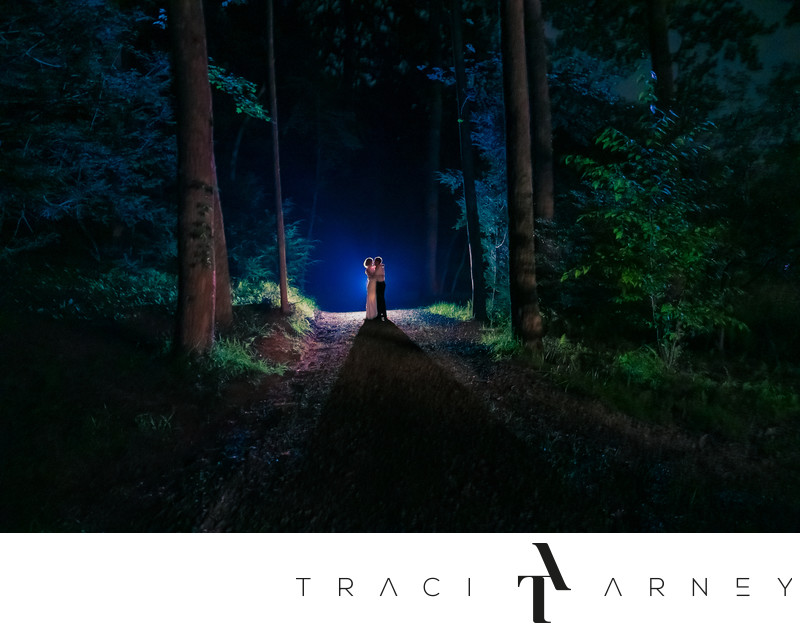 Night Forest Wedding Portrait, Deerfields, Horse Shoe, NC