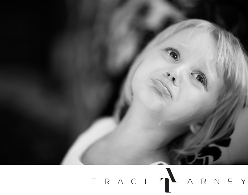 Crying Flower Girl Portrait, Asheville Wedding Photographer