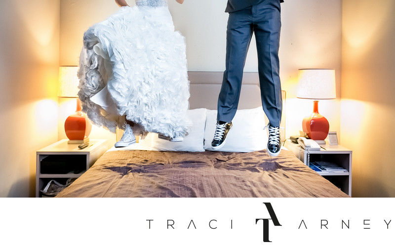 Bride & Groom Jump on Bed in Converse, Proximity Hotel