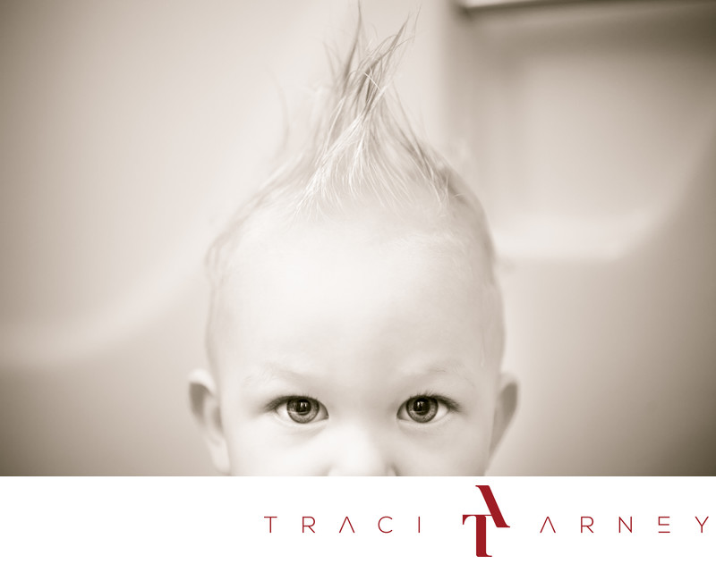 Mohawk Hair Bathtub Baby Portrait Session Rockwell NC