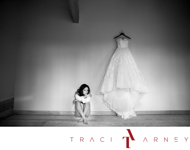 B&W Bridal Portrait with Wedding Gown in Danville, VA