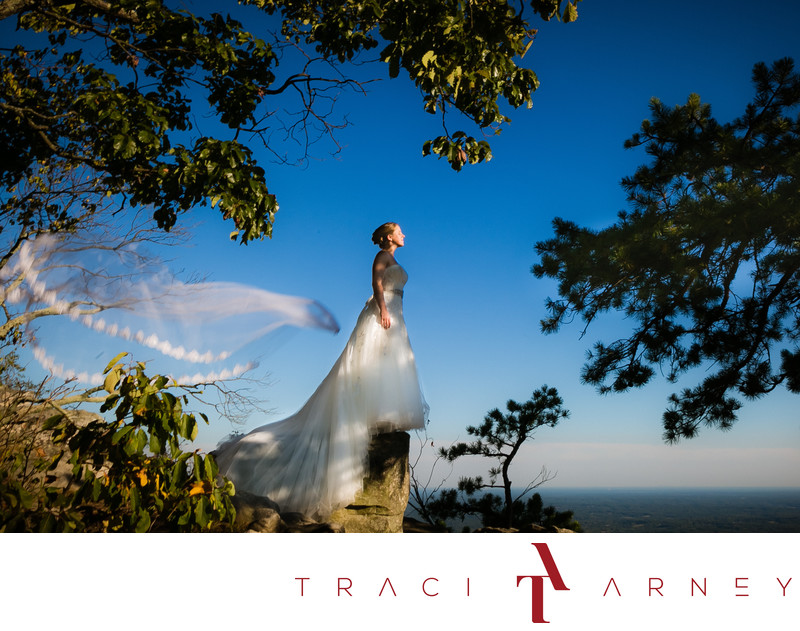 Bride on Cliff with Floating Veil, Pilot Mountain, NC