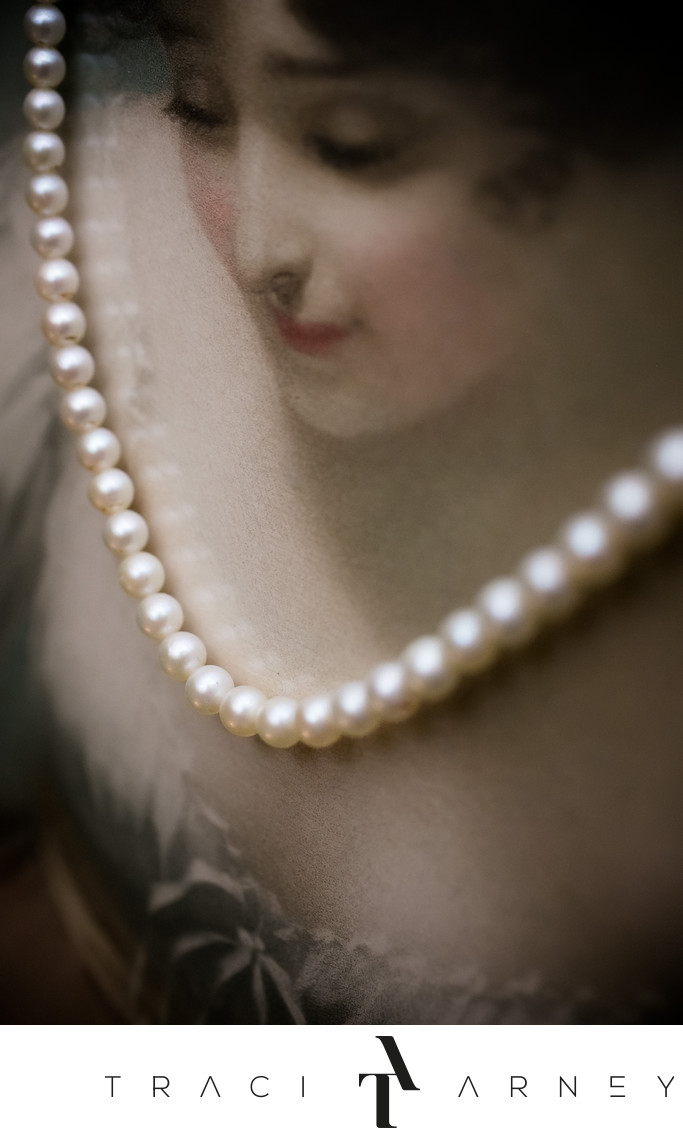 Pearl Necklace on Painting, Graylyn Wedding Photographer
