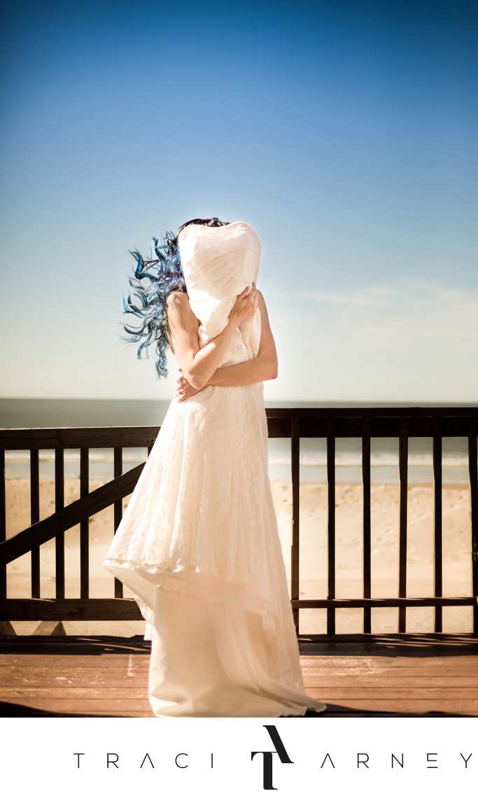 Oak Island, Southport Destination Wedding Dress Shot