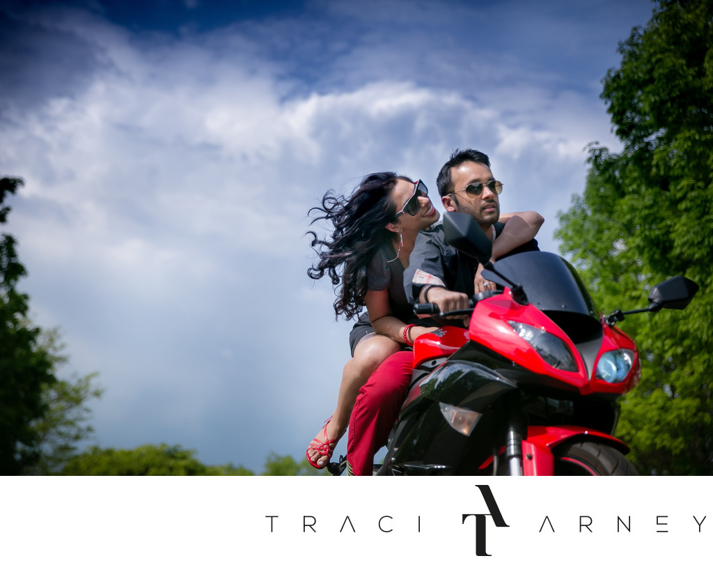 Indian Engagement Session on Motorcycle, Princeton, NJ