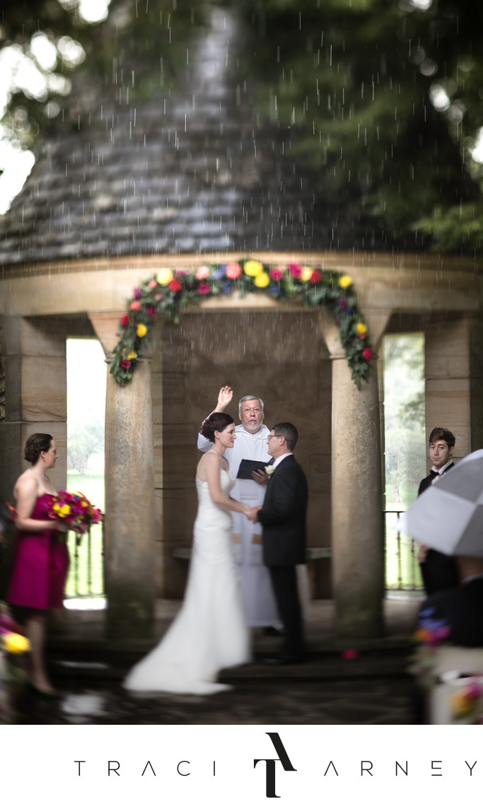 Rainy Outdoor Ceremony at Graylyn in Winston-Salem, NC