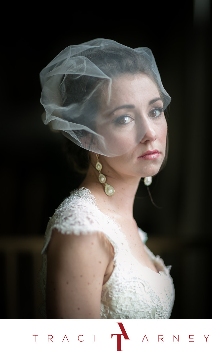Portrait of Bride in Vermeer Light, Asheville, NC