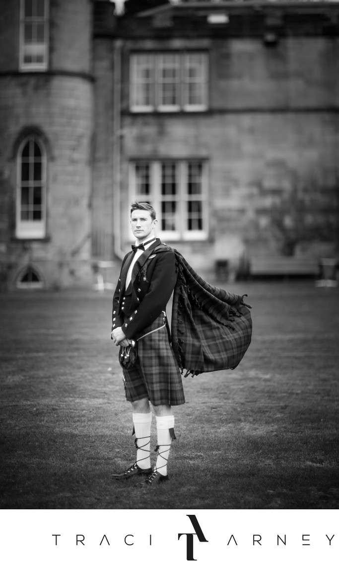 Kilted Groom Melville Castle Edinburgh, Scotland Wedding