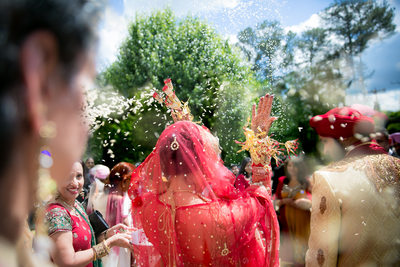 Indian Bride Throwing Rice After Ceremony, Raleigh, NC