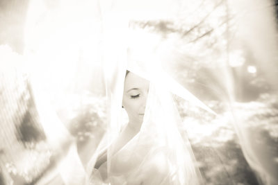 Bride Shot Through Veil, Camp Pinnacle, Hendersonville, NC