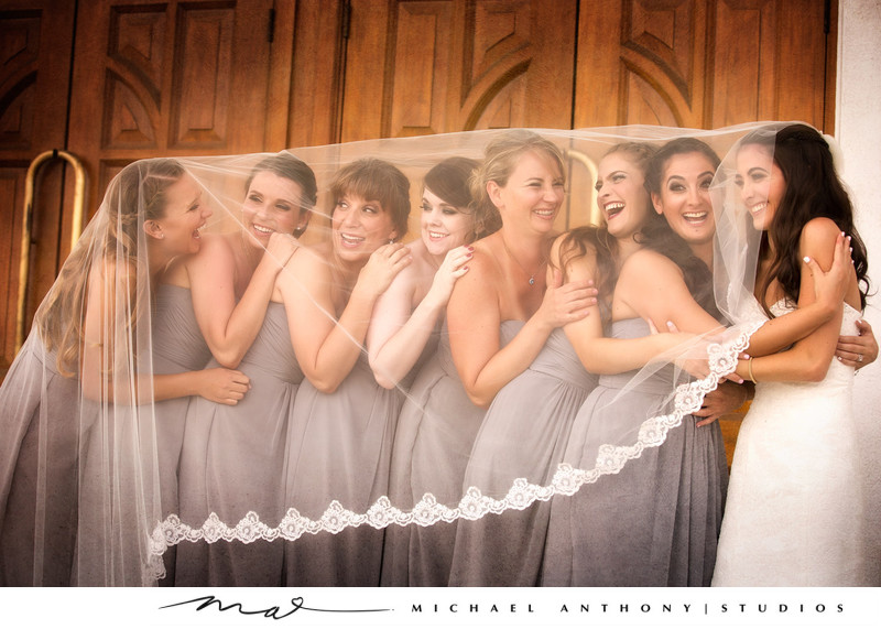 A fun photo of bridesmaids at a Los Angeles Wedding