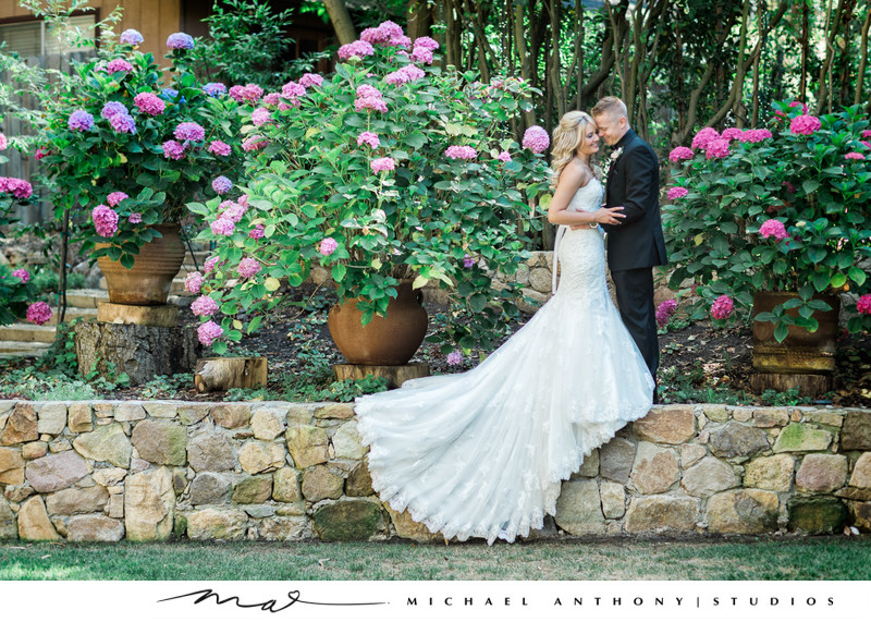 A Wedding Photo at the Gardens in Calamigos Ranch outside of Los Angeles