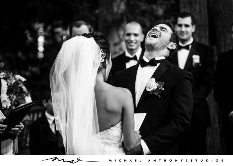 Groom Laughing during Wedding Ceremony Hyatt Valencia