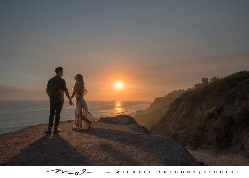 El Matador Beach Engagement Session at Sunset
