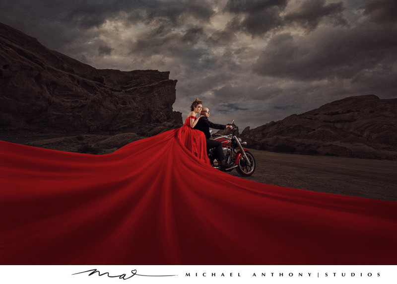 Motorcycle Engagement Session Red Dress