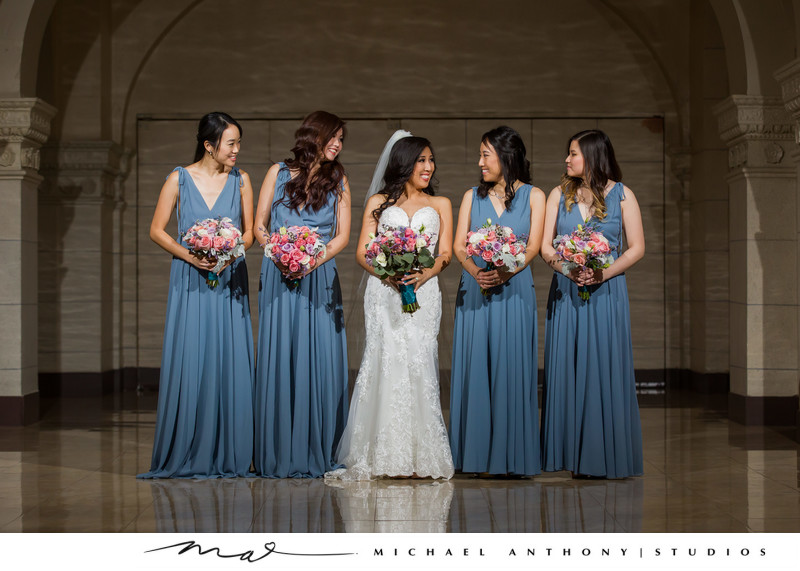 Bride and Bridesmaids at Majestic Downtown Wedding