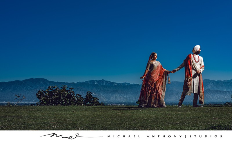 Indian Wedding Portrait on a Los Angeles Cliffside