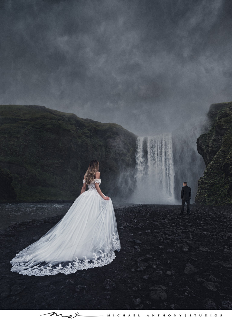 Iceland Destination Wedding Photos Waterfall
