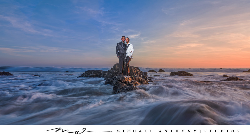 Sunset Engagement Session over the Water