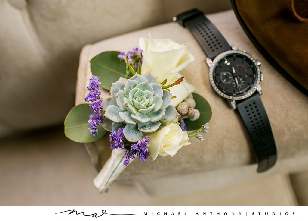 Majestic Downtown Wedding boutonierre