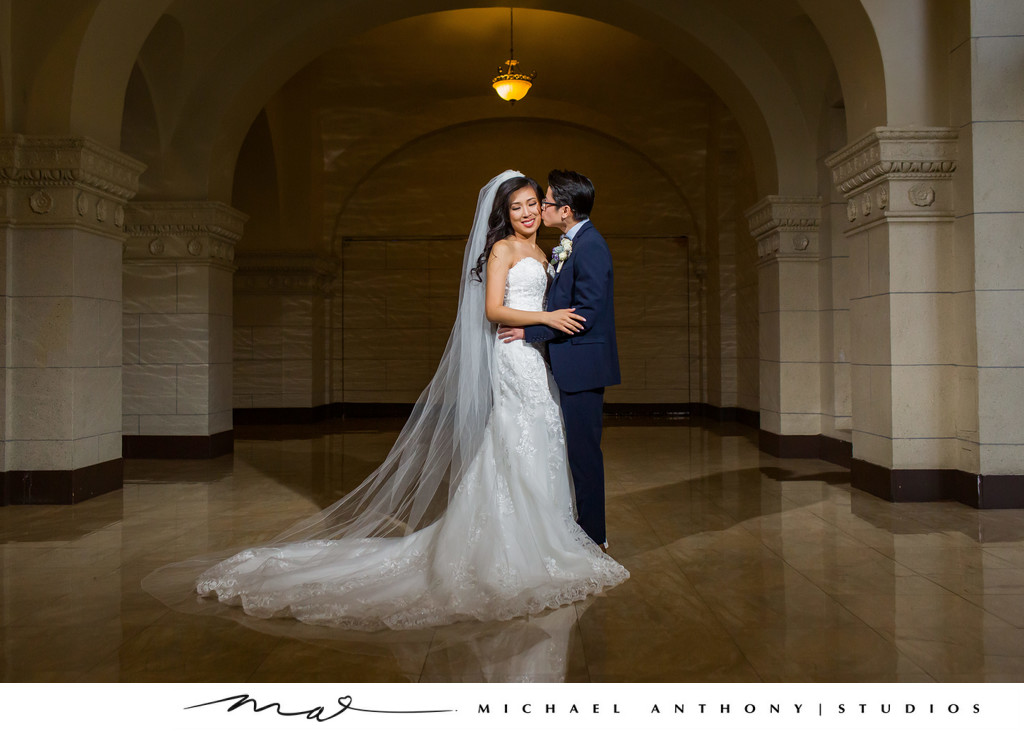 Couples portrait at Majestic Downtown Wedding