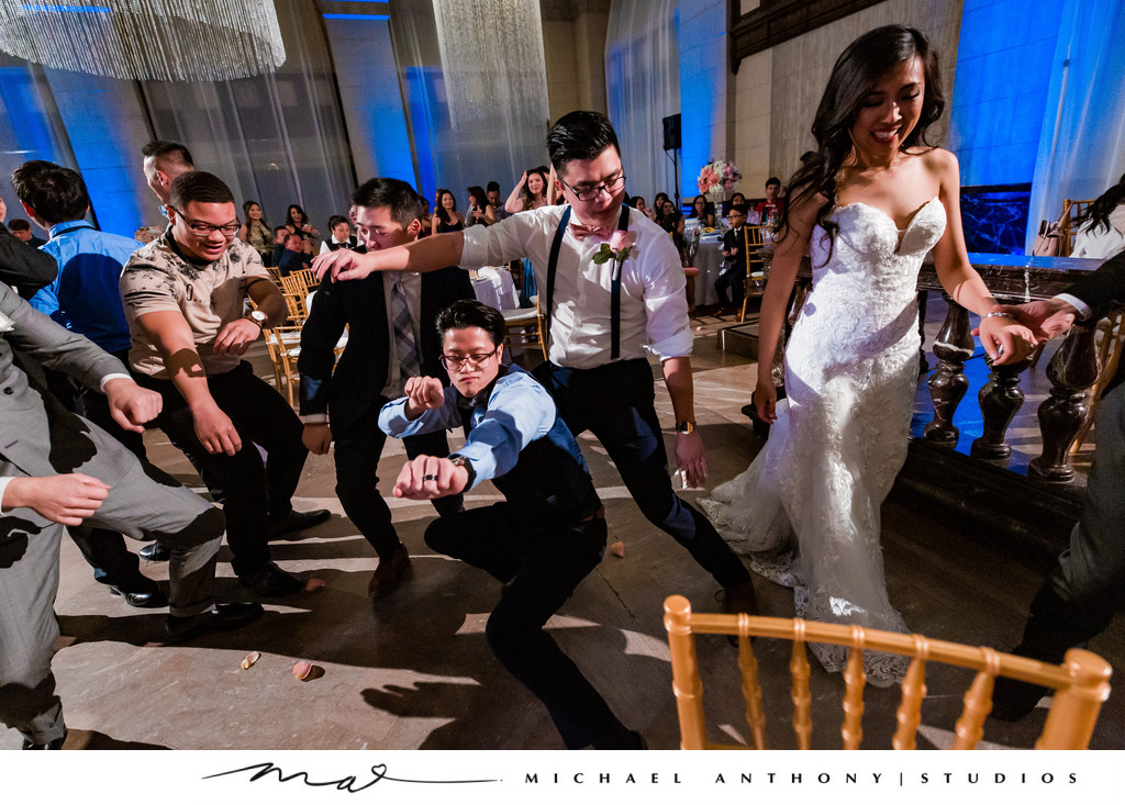 Garter Toss at Majestic Downtown Wedding