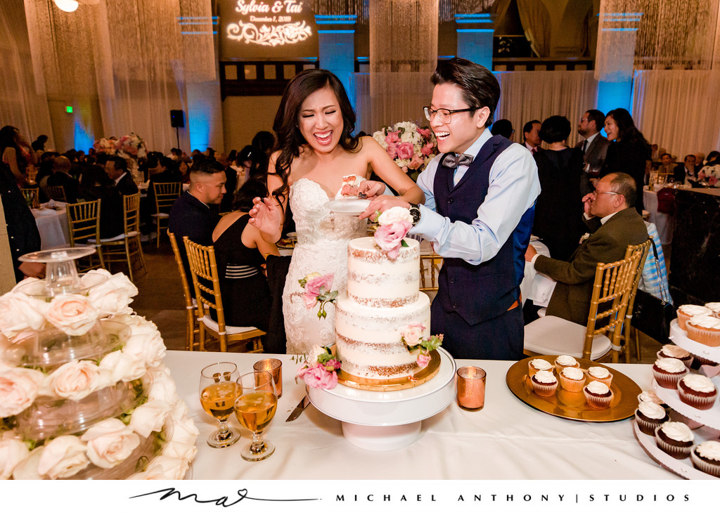 Wedding Cake Cutting at Majestic Downtown Wedding