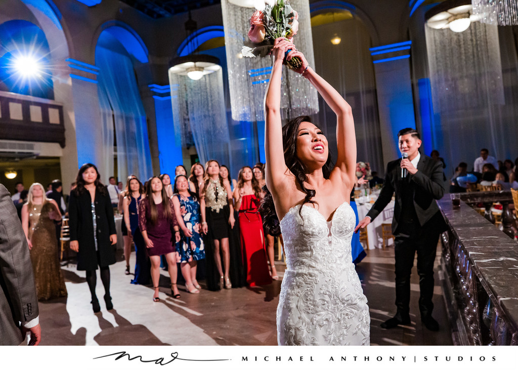 Bouquet Toss at Majestic Downtown Wedding