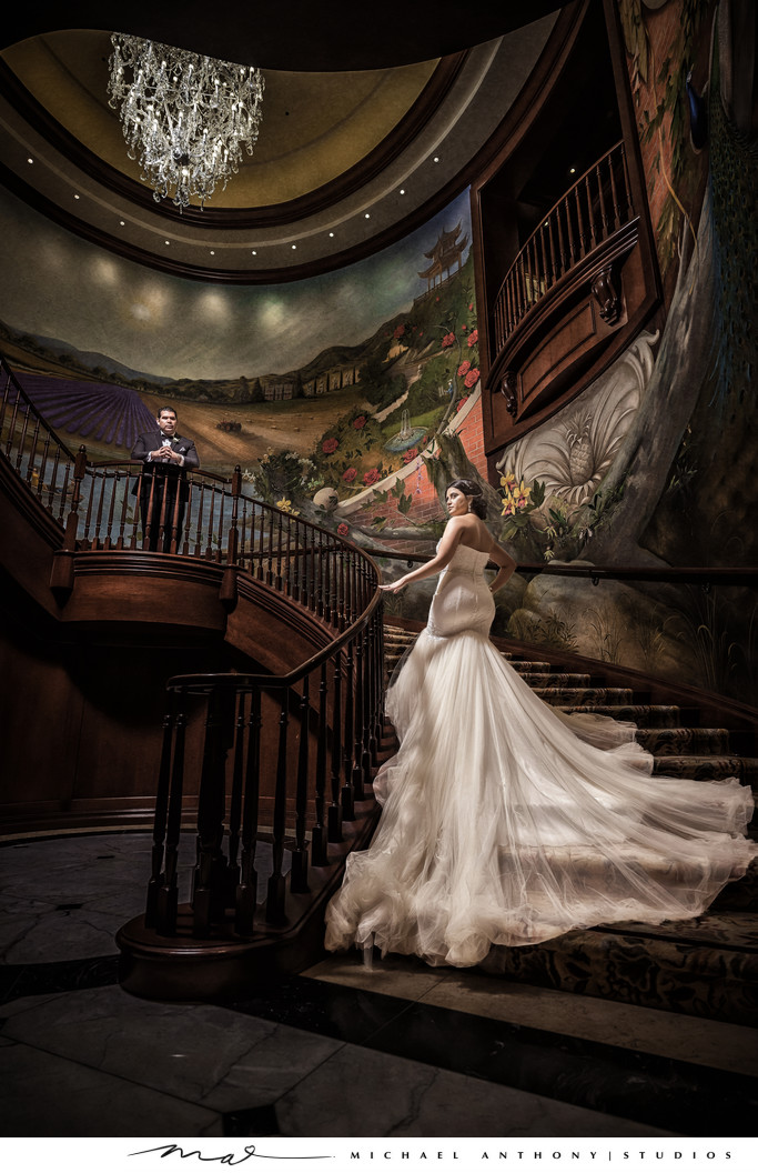 Wedding Photos on Staircase at Four Seasons Westlake Village