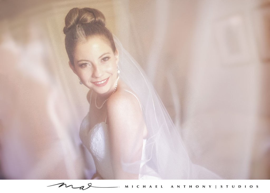 Natural Light Bridal Portrait Under Veil
