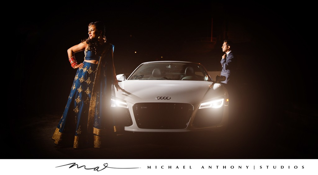 Bride & Groom Pose on Audi R8