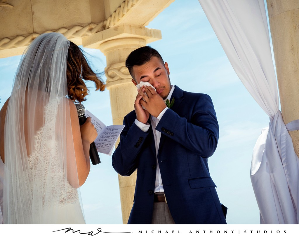 Grand Solmar Land's End Resort Wedding: Groom Crying during Vows