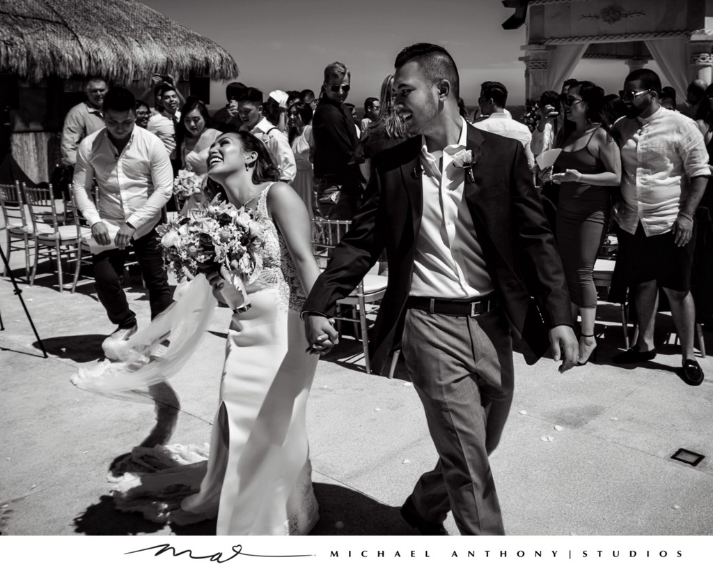 Grand Solmar Land's End Resort Wedding: Bride and Groom leave Ceremony