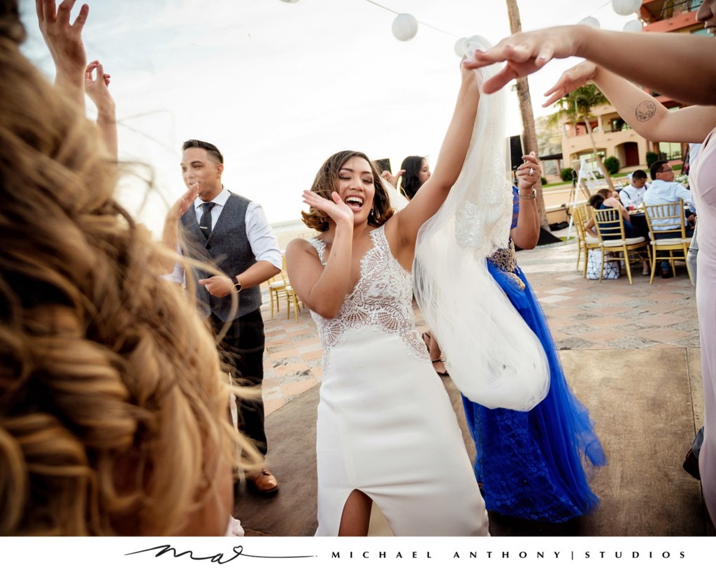 Grand Solmar Land's End Resort Wedding: Bride Partying at Reception