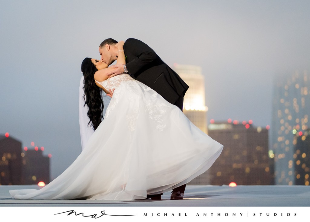 South Park Center Weddings: Rooftop Kiss