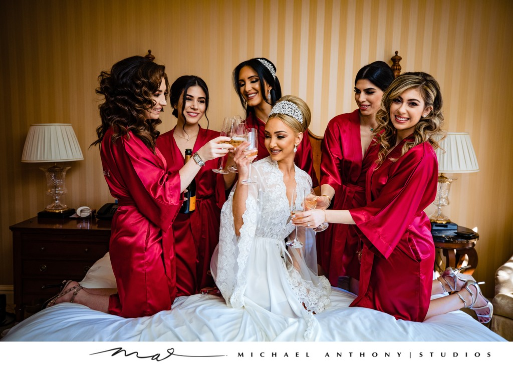 Fairmont Grand Del Mar Wedding: Bridesmaids with Champagne