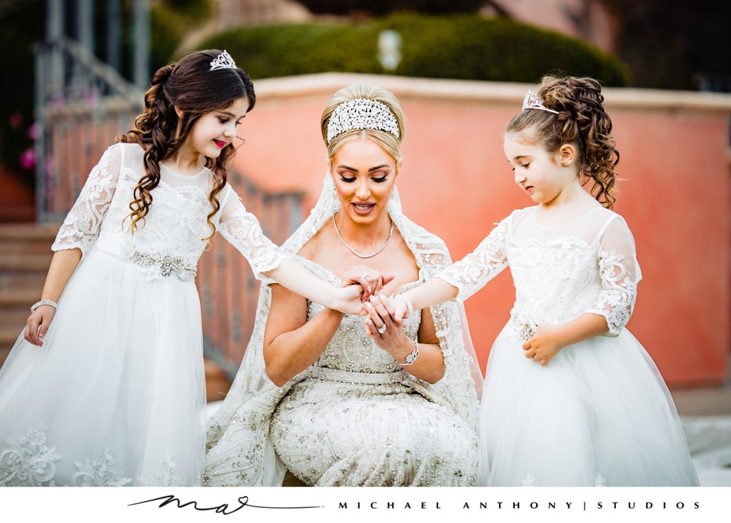 Fairmont Grand Del Mar Wedding: Bride with Flower Girls