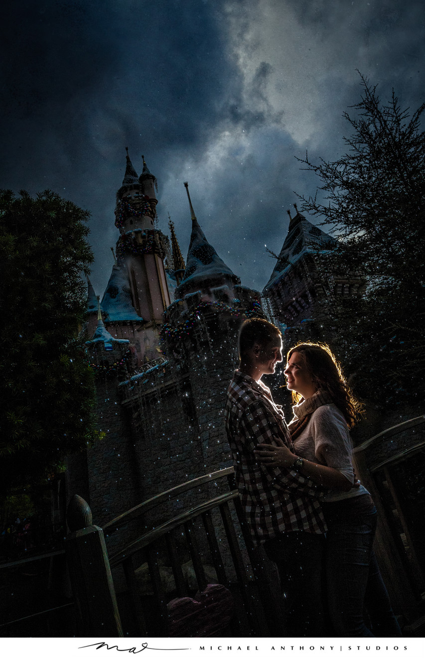 Engagement Pictures at Disneyland's Magic Castle
