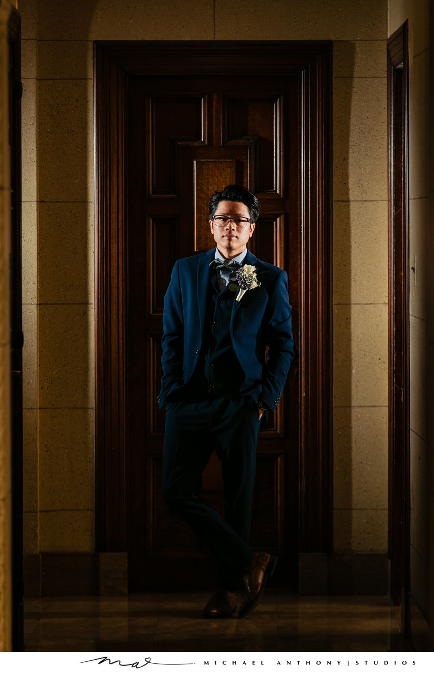 Majestic Downtown Wedding Grooms Portrait