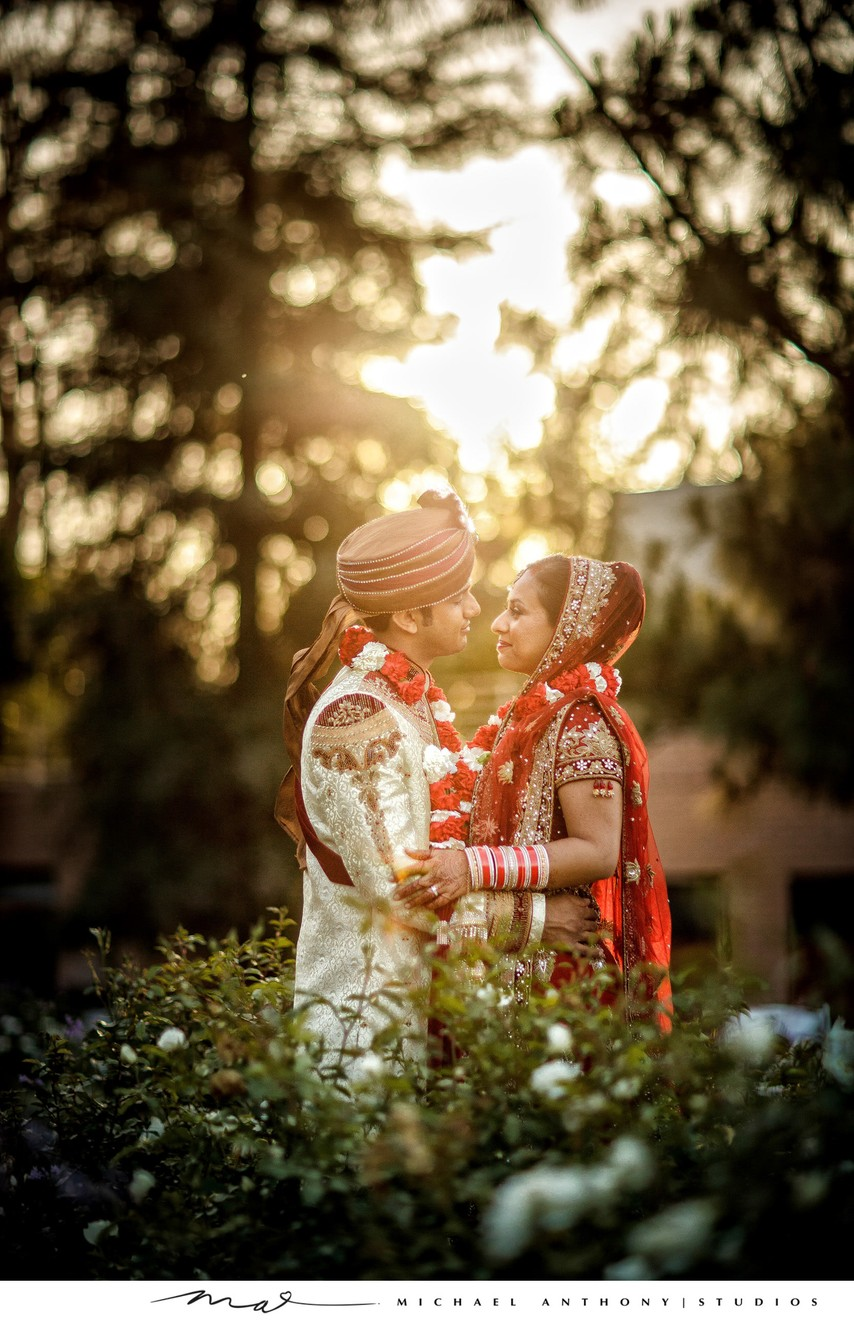 South Asian Wedding Couples Portraits During Golden Hour